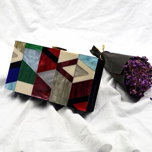 Itten Red Marble Acrylic Box Bag bag Vinty Jewelry