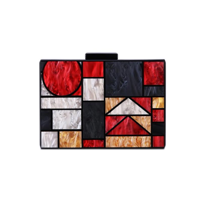 Kandinsky Red Marble Acrylic Box Bag bag Vinty Jewelry