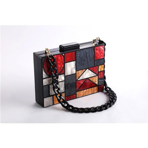 Kandinsky Red Marble Acrylic Box Bag bag Vinty Jewelry black