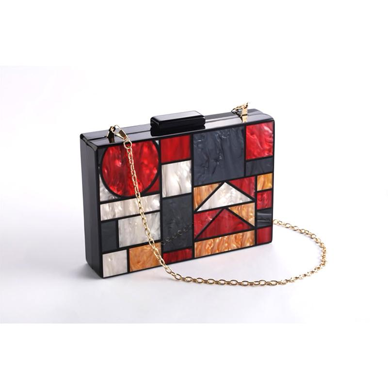 Kandinsky Red Marble Acrylic Box Bag bag Vinty Jewelry gold
