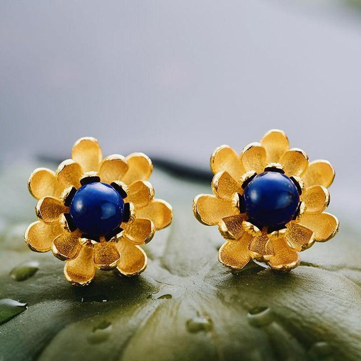 Lapis Lazuli Lotus Flower Stud Earrings earrings Vinty Jewelry Gold