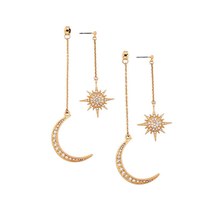 Long Earrings With Dangly Moon and Stars earrings Vinty Jewelry