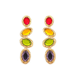 Long Earrings With Multicolor Crystal Stones earrings Vinty Jewelry