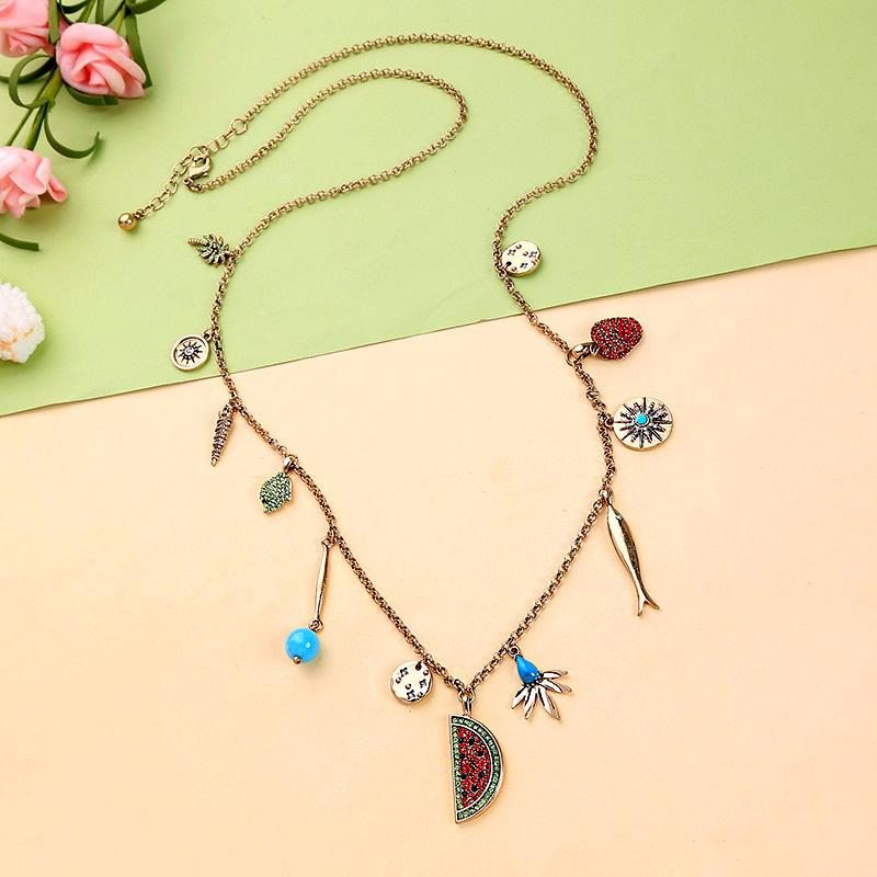 Long Necklace With Tropical Charms necklace Vinty Jewelry