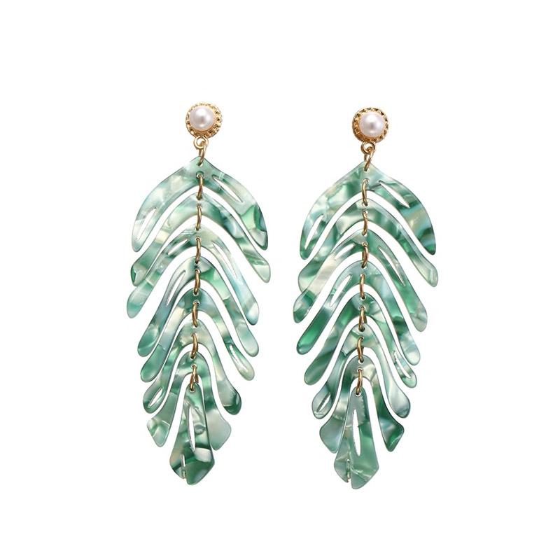 Long Palm Leaf Dangle Earrings earrings Vinty Jewelry Green