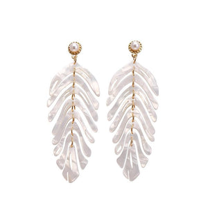 Long Palm Leaf Dangle Earrings earrings Vinty Jewelry White