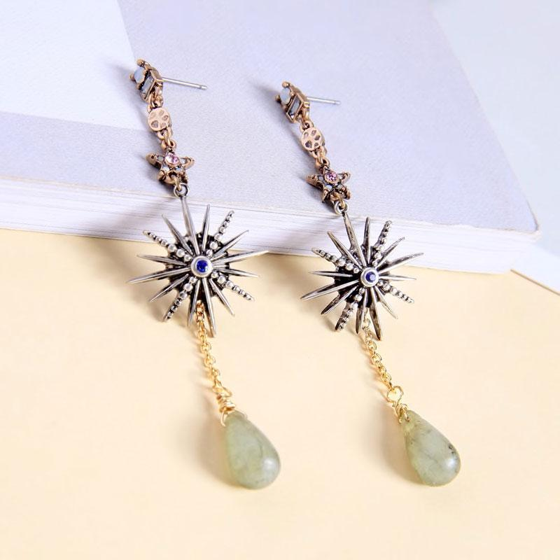 Long Star Earrings With Dangling Stones earrings Vinty Jewelry