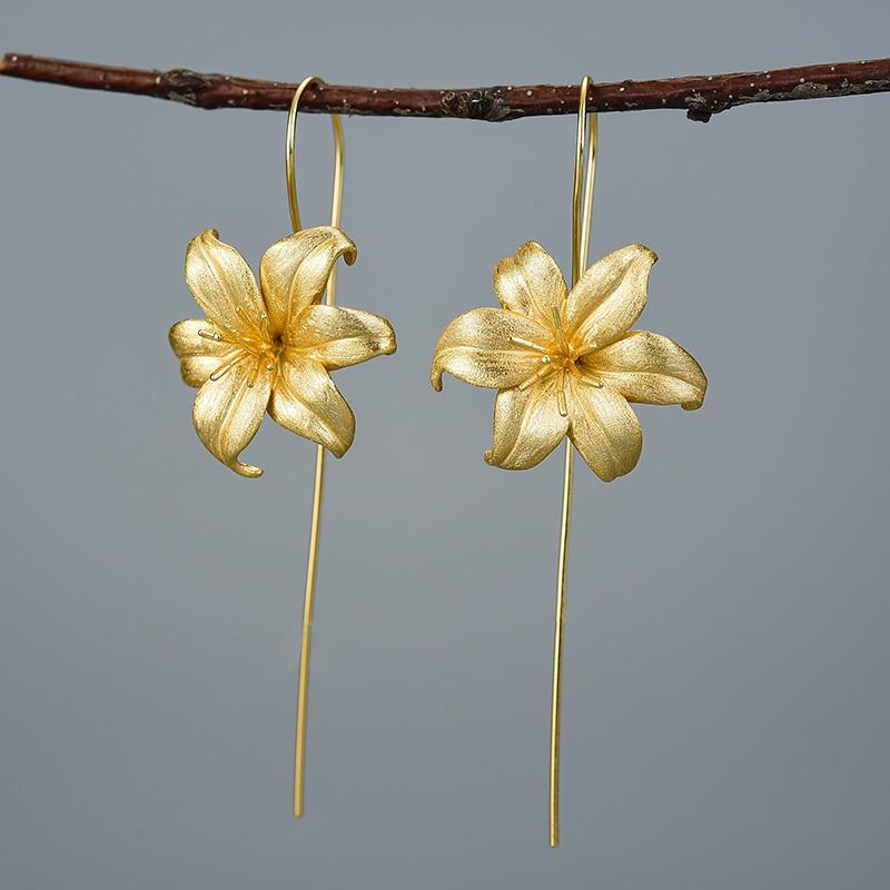 Lotus Fun 18K Gold Lily Flower Dangle Earrings Real 925 Sterling Silver Handmade Designer Fine Jewelry Earrings for Women Bijoux earrings Vinty Jewelry