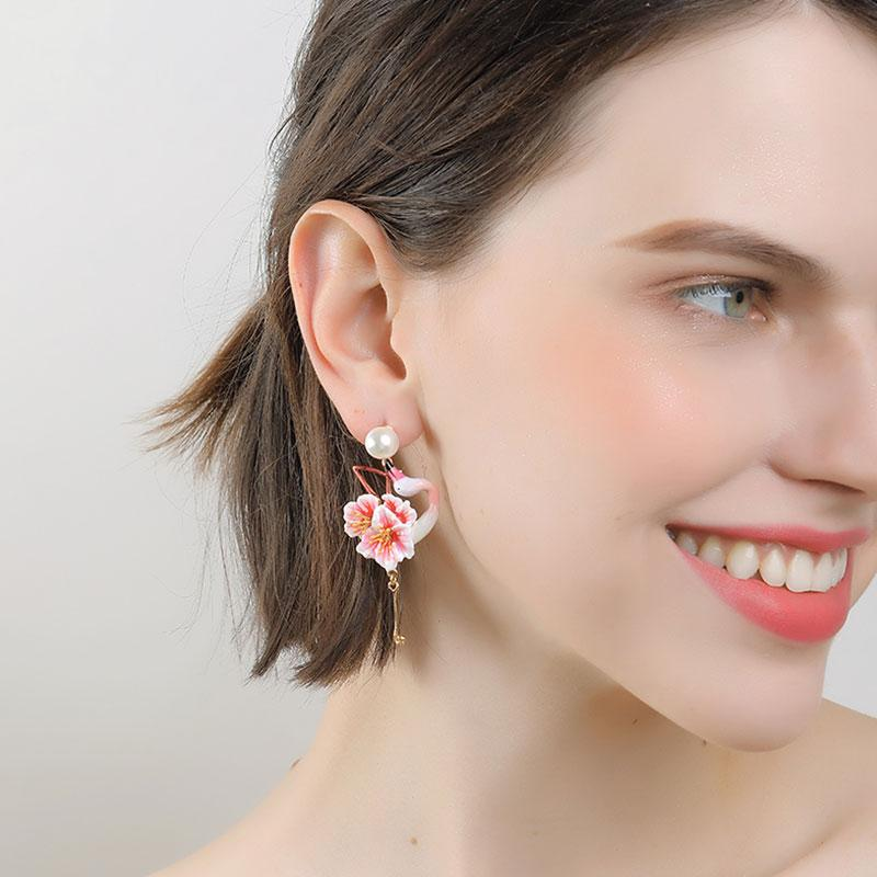 Mismatched Blossoming Flamingo Earrings earrings Vinty Jewelry