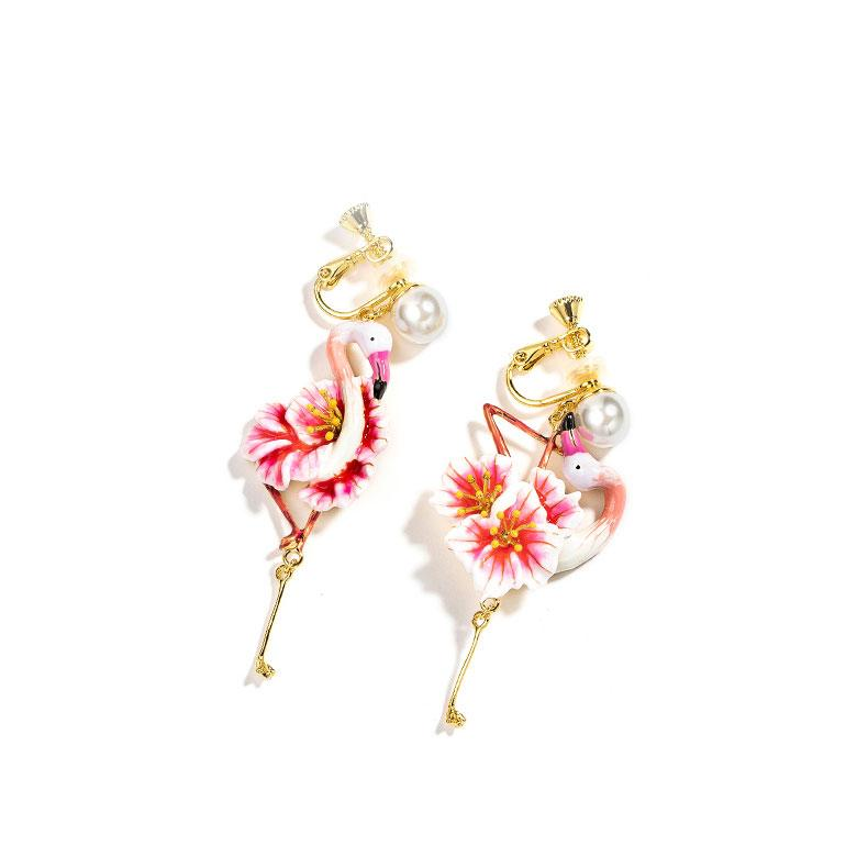 Mismatched Blossoming Flamingo Earrings earrings Vinty Jewelry clip on
