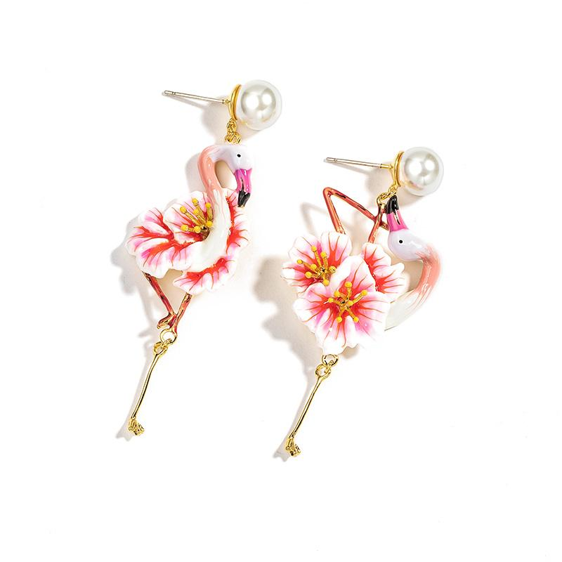 Mismatched Blossoming Flamingo Earrings earrings Vinty Jewelry post back