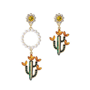 Mismatched Crystal Cactus Flower Dangle Earrings earrings Vinty Jewelry