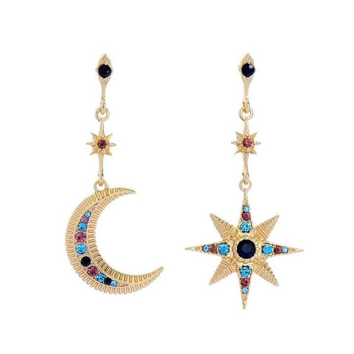 Mismatched Star and Moon Dangle Earrings earrings Vinty Jewelry