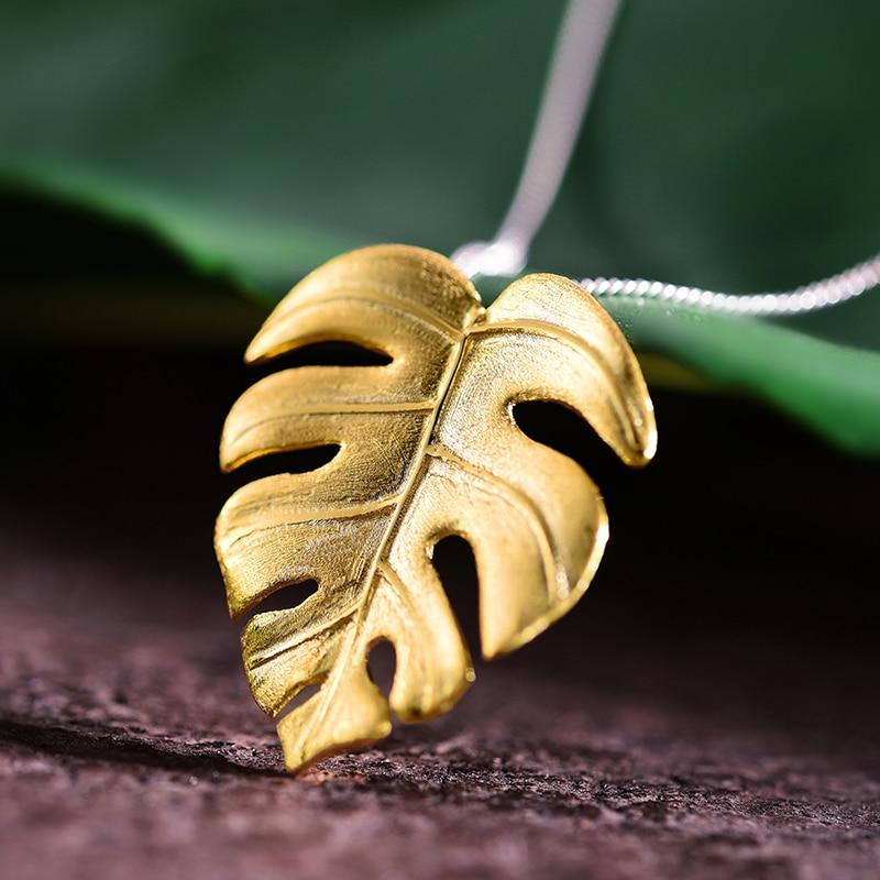 Monstera Leaf Pendant necklace Vinty Jewelry Gold