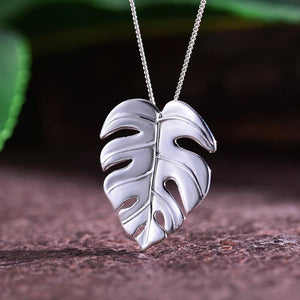 Monstera Leaf Pendant necklace Vinty Jewelry Silver