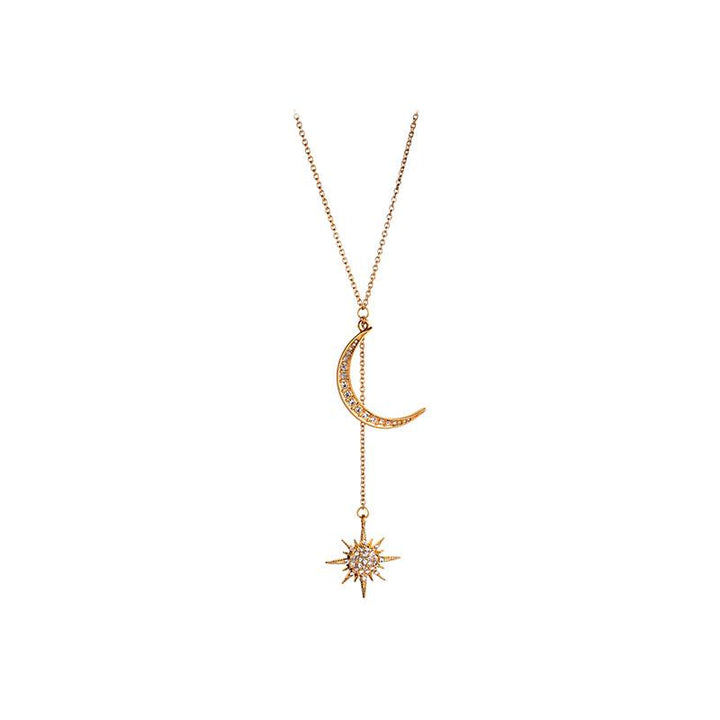 Moon and Star Pendant Necklace necklace Vinty Jewelry