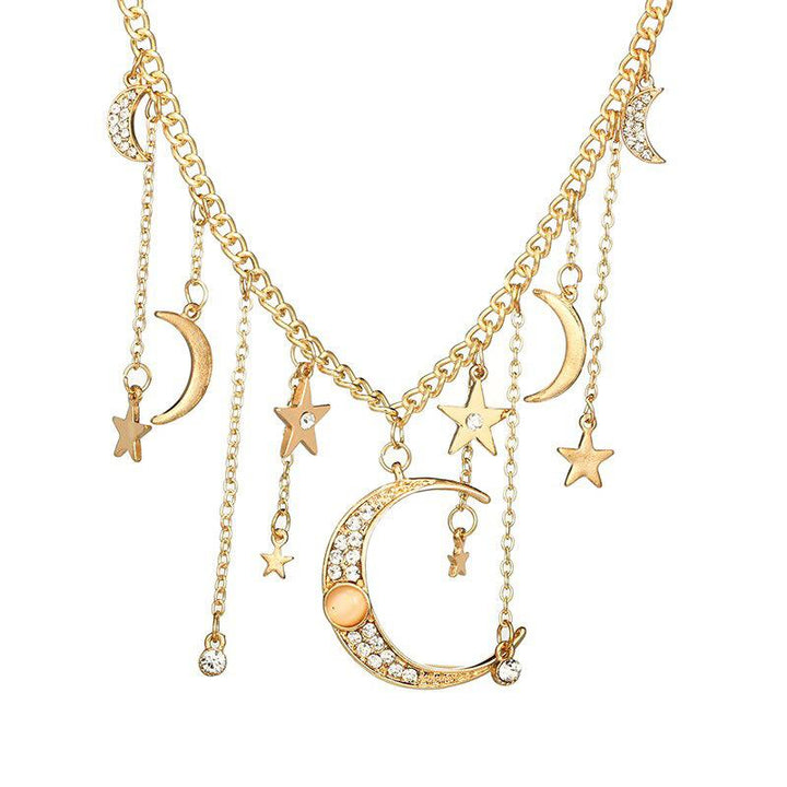 Moon and Stars Pendant Necklace necklace Vinty Jewelry
