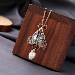 MOTHIES Abalone Moth Pendant Necklace necklace Vinty Jewelry
