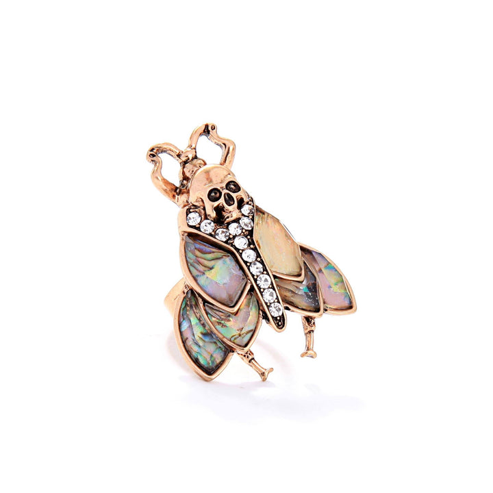 MOTHIES Abalone Moth Resizable Ring ring Vinty Jewelry