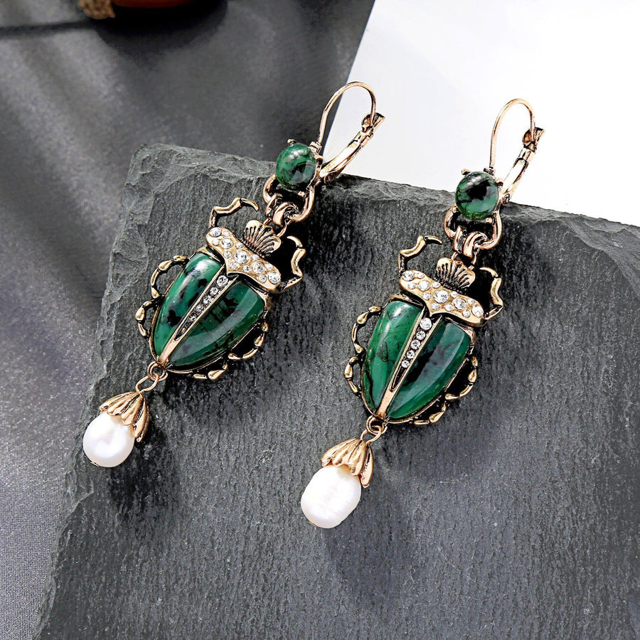 MOTHIES Green Scarab Earrings earrings Vinty Jewelry