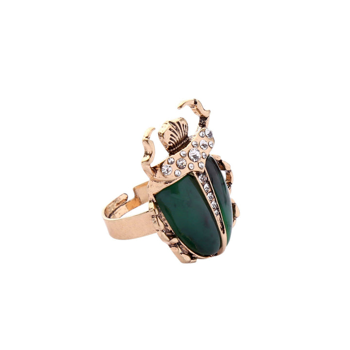 MOTHIES Green Scarab Ring ring Vinty Jewelry