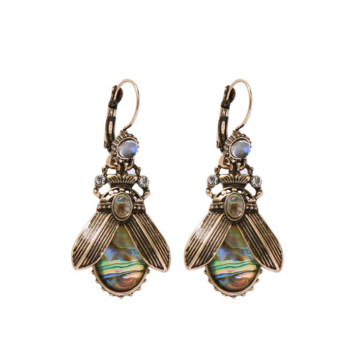 MOTHIES Insect Earrings With Abalone Stones earrings Vinty Jewelry