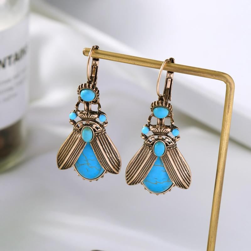 MOTHIES Insect Earrings With Turquoise Stones earrings Vinty Jewelry