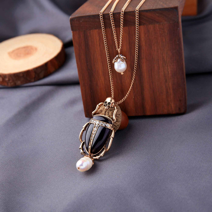MOTHIES Skull Scarab Pendant Necklace necklace Vinty Jewelry