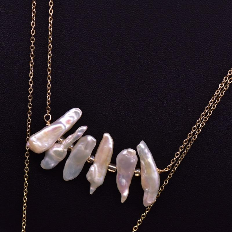 Multi Layered Agate and Pearl Long Necklace necklace Vinty Jewelry