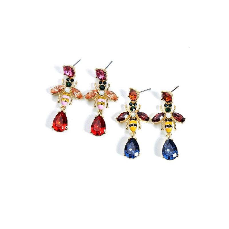 Multicolor Crystal Bee Earrings earrings Vinty Jewelry