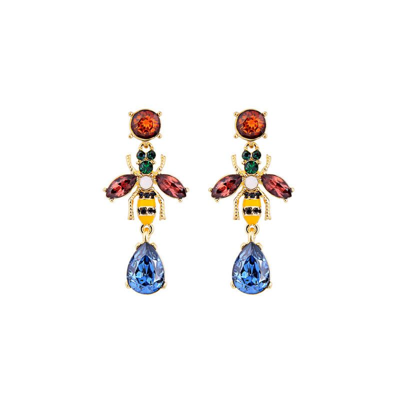 Multicolor Crystal Bee Earrings earrings Vinty Jewelry Blue