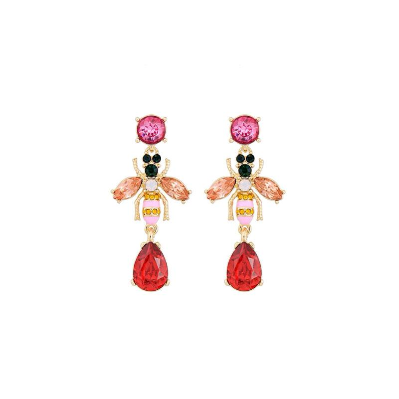 Multicolor Crystal Bee Earrings earrings Vinty Jewelry Red