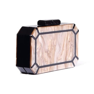 Octagon Marble Acrylic Box Clutch bag Vinty Jewelry