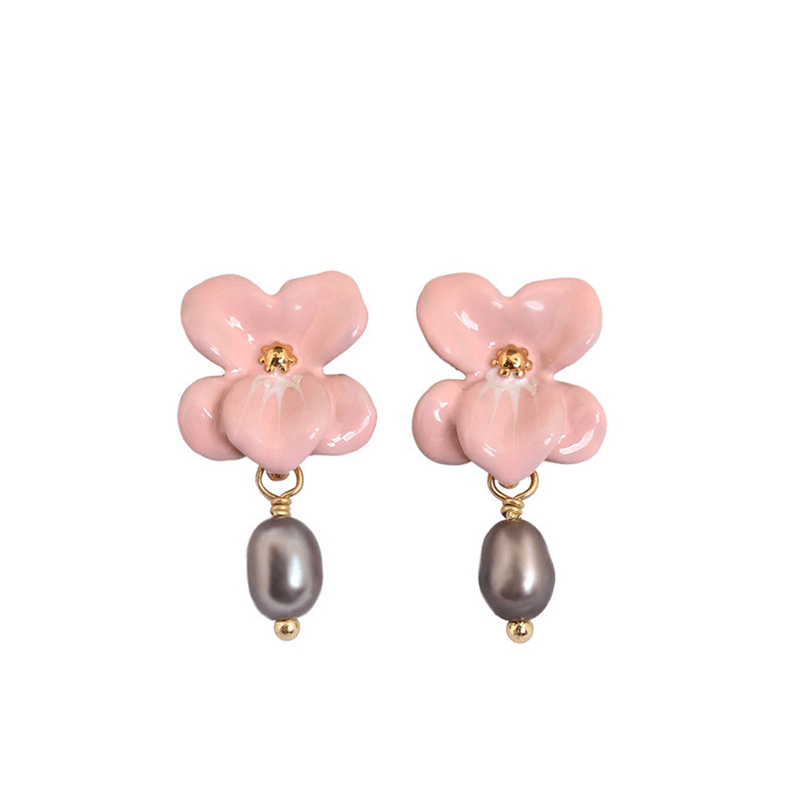 Orchid Earrings with Dangling Pearls earrings Vinty Jewelry LightPink