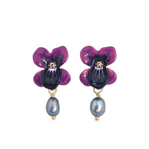 Orchid Earrings with Dangling Pearls earrings Vinty Jewelry purple