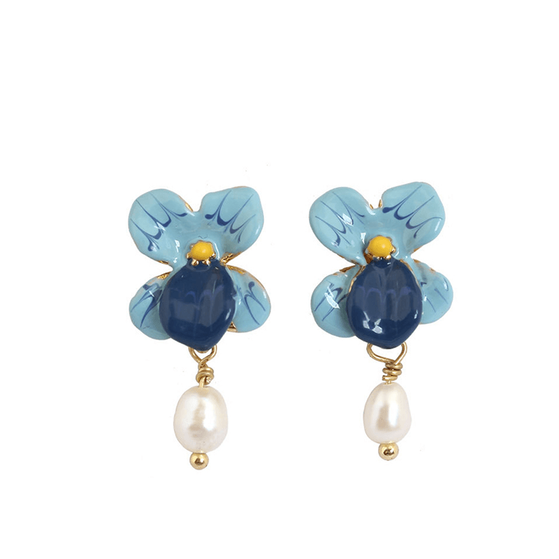 Orchid Earrings with Dangling Pearls earrings Vinty Jewelry SkyBlue
