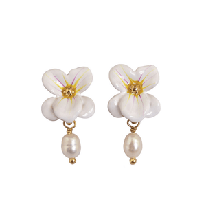 Orchid Earrings with Dangling Pearls earrings Vinty Jewelry white