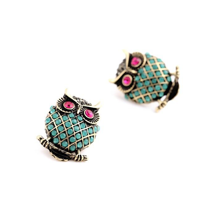 Owl Earrings with Tiny Beads earrings Vinty Jewelry