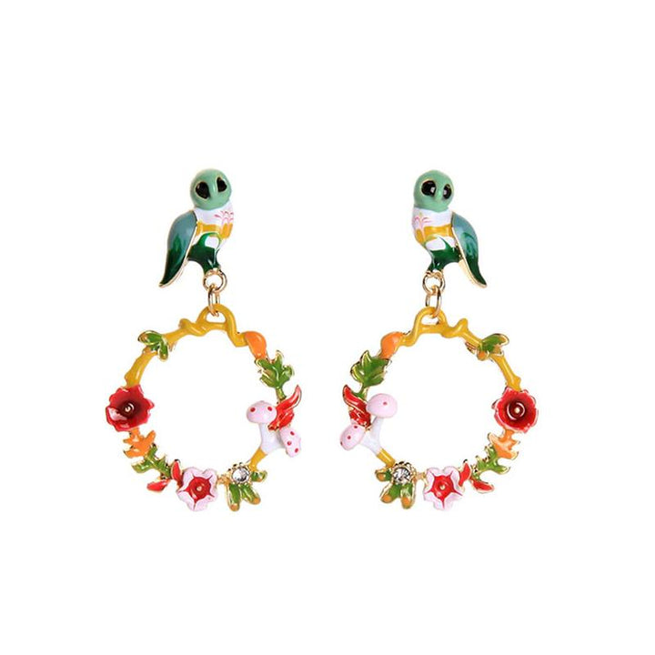 Owls and Flowers Hoop Earrings earrings Vinty Jewelry