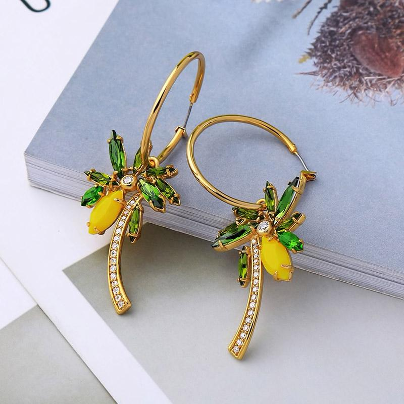 Palm Tree Hoop Earrings Vinty Jewelry
