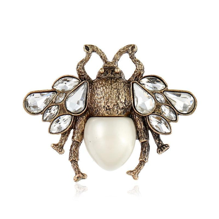 Pearl Bee Brooch With Crystal Wings brooch Vinty Jewelry