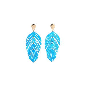 Pearlescent Leaf Earrings earrings Vinty Jewelry Blue