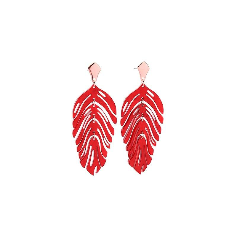 Pearlescent Leaf Earrings earrings Vinty Jewelry Red