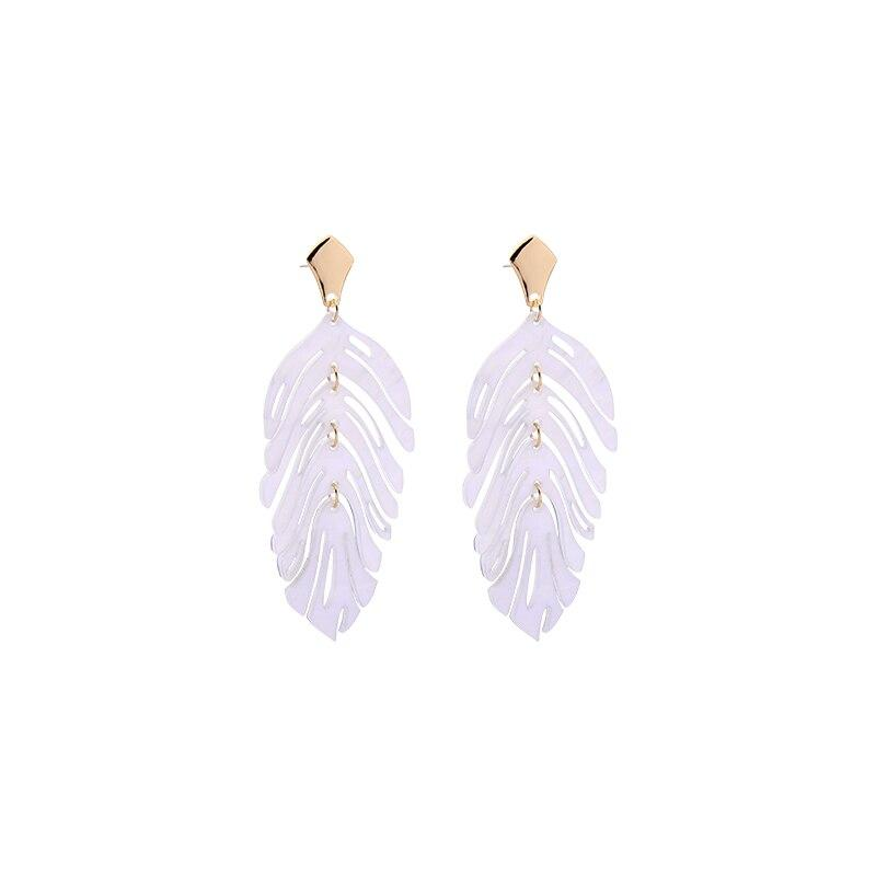 Pearlescent Leaf Earrings earrings Vinty Jewelry White