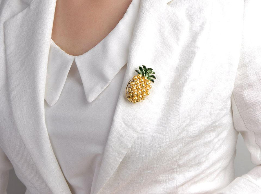 Pineapple Brooch With Faux Pearls brooch Vinty Jewelry