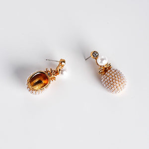 Pineapple Earrings With Tiny Pearls earrings Vinty Jewelry