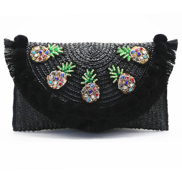 Pineapple Embellished Straw Crossbody Bag bag Vinty Jewelry