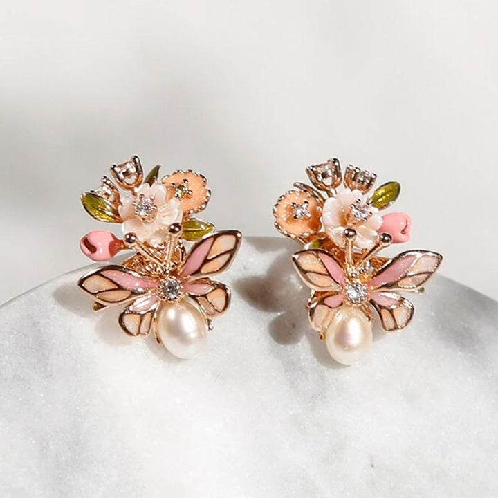 Pink Flowers and Butterfly Earrings earrings Vinty Jewelry