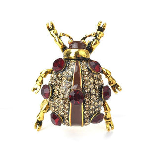 Polka-Dotted Beetle Brooch brooch Vinty Jewelry gold