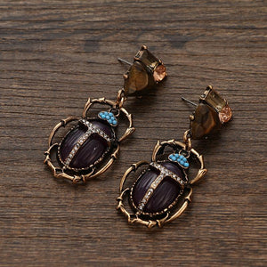 Purple Scarab Drop Earrings earrings Vinty Jewelry